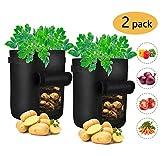 grow borse, trunk 2 pack sacchi tessuto non tessuto sacchi per piante, 7 gallon contenitore patate con patta per patate, carote & pomodori