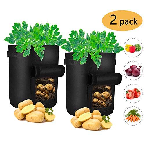 iTrunk Paquete de 2 Bolsas de Cultivo de Papa, Bolsa de 7 galones para Plantas con Ventana de Velcro para visualizar y Asas, contenedor de macetas de Tela no Tejida Patata, Zanahoria, Tomate