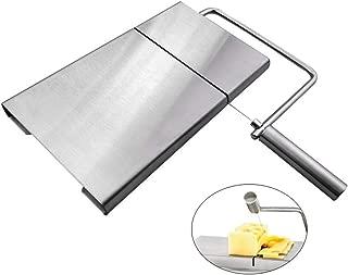 Homemust Cortadora de queso inoxidable con tabla de servir para rebanadora de pastel de mantequilla de queso semiduro