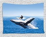 ABAKUHAUS Tier Wandteppich, Jumphing Delphin Surfer, Wohnzimmer Schlafzimmer Heim Seidiges Satin Wandteppich, 150 x 100 cm, Weiß Blau