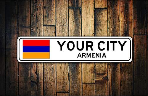 Fhdang Decor Souvenir de Panneau de Drapeau de l'Arménie, Arménie, arménien, métal, Souvenir de Cadeau, Ville de Signer, City Souvenir City Souvenir Sign, Plaque en métal, 10,2 x 45,7 cm