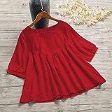 Nukcc Blusa De Verano,Blusa de Cotton linende algodón de Mujer Vintage Color sólido O Cuello de Manga colorta Camiseta de Verano Informal Top