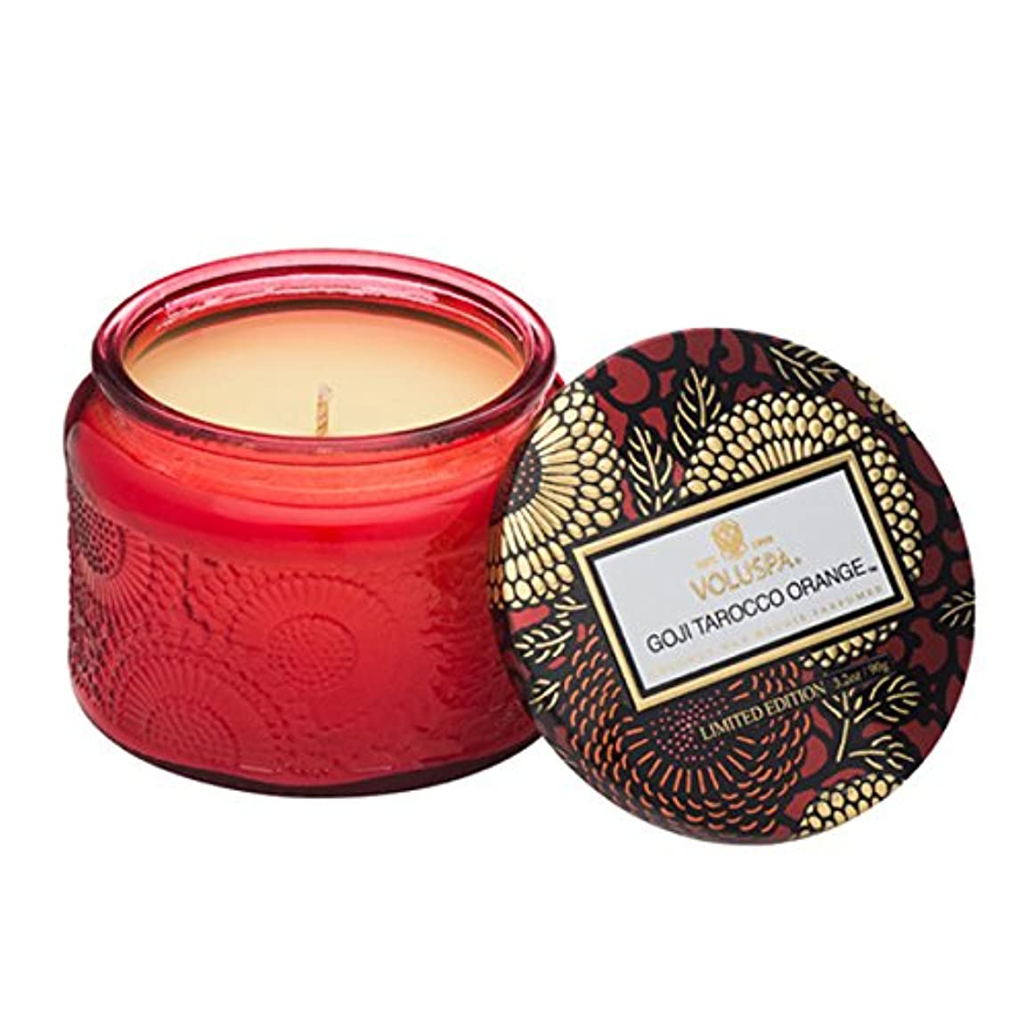 補正香水導体Voluspa ボルスパ ジャポニカ リミテッド グラスジャーキャンドル  S ゴージ&タロッコオレンジ GOJI & TAROCCO ORANGE JAPONICA Limited PETITE EMBOSSED Glass jar candle