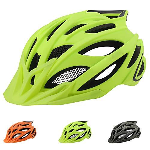 Casco Bicicleta Helmet de Bici con una Luz Trasera LED,Adulto Casco Bicicleta Montaña para Hombres Mujeres,23 Respiraderos Transpirable Verano Cascos Ciclismo Carretera Casco Bici BMX,Amarillo,L