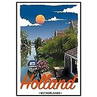 HZLYCH オランダのレトロなスタイルのポスターのキャンバスの絵画は居間の装飾のためのポスターの壁の装飾を印刷します-50X70CMフレームなし