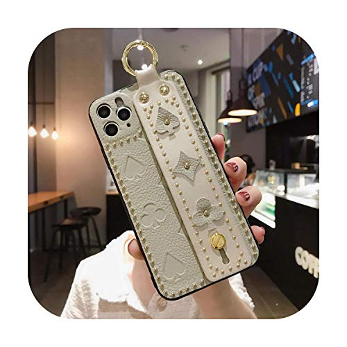Luxury Leather Phone Case for for iPhone 11 11Pro X XR XS Max 6 6S 7 8 Plus Fashion Portable Wrist Bracket PU Phone Cover Cowhide-Ivory-for for iPhone 8