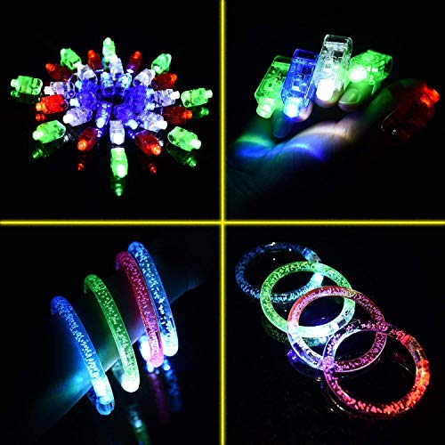 FUN LITTLE TOYS 60PCs LED Light Up Toys Glow in Th   e Dark Party Supplies, Glow Stick Party Pack for Kids Party Favors Including 40 Finger Lights, 12 Flashing Bumpy Rings, 4 Bracelets and More