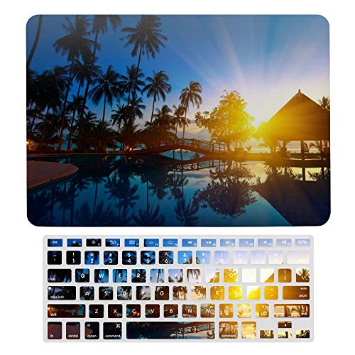 MacBook Pro 13 inch Case 2020 2019 2018 2017 Release A2159 A1989 A1706 , Plastic Hard Shell Case&Screen Protector with Keyboard Cover, Sunrise Thailand Paradise Trees Sea Water Palm Trees Bridge Nature