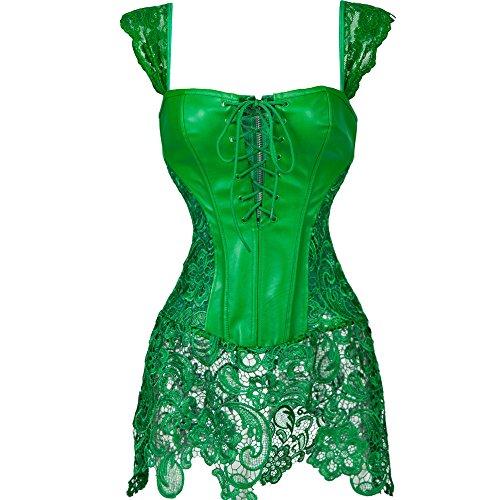 MISS MOLY Femme Basque Dentelle Corset Vintage Faux Cuir Lingerie Bustiers Vêtements Robe Noir/Marron/Rouge/Vert