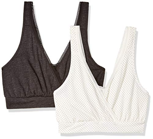 Playtex Women's Nursing Pullover Sleep Bra 2-Pack, Micro Dot Print/Black, Medium