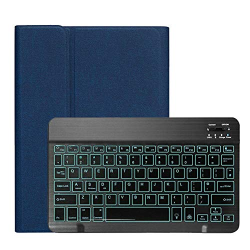 RZL PAD & TAB cases For iPad 10.2 inch 2019, Backlight Wireless Keyboard Cover PU Leather Flip Keyboard Tablet Cover With Pen Solt For iPad 7th Gen (Color : Blue)
