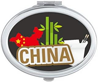 DIYthinker China Map Bamboo Brown China Town Oval Compact Makeup Mirror Portable Cute Hand Pocket Mirrors Multicolor