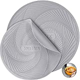 Silicone Microwave Mats, Walfos Heat Resistant Multi-Purpose Microwave Trivet Mat, Non-Slip, BPA Free and Dishwasher Safe, Perfect for Microwave, Oven, Hot Pan, Set of 2, Grey