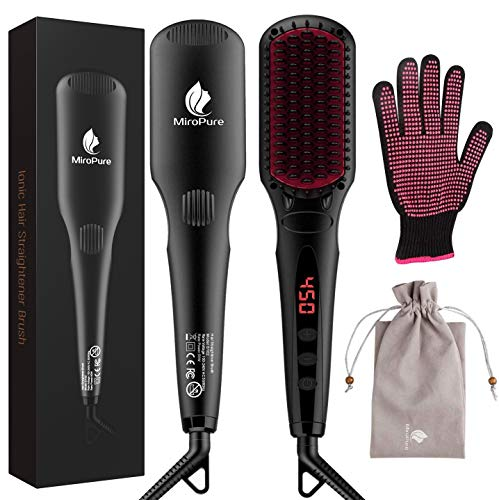 MiroPure Hair Straightener Brush, Ionic Anti-Scald Straightening Comb, Portable Frizz-Free Silky Electric Straightening Brush, Dual Voltage thumbnail image