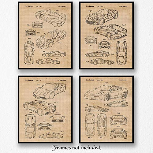 Vintage Ferrari F430, 488, Aperta, F12 Berlinetta Patent Poster Prints, Set of 4 (8x10) Unframed Photos, Wall Art Decor Gifts Under 20 for Home, Man Cave, College Student, Italy Cars & Coffee Fan
