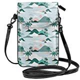 Jiger Women Small Cell Phone Purse Crossbody,Pastel Tones Palm Trees And Beach Hills Paper Cut Style