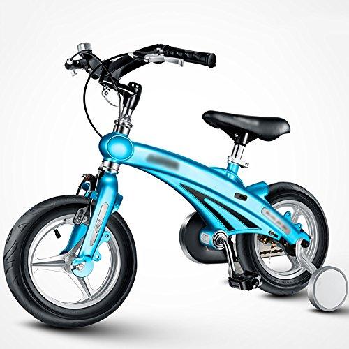 LVZAIXI Bicyclettes pour Enfants 3 Ans Vieux 6 Ans Poussette de bébé 12/14/16 Pouces vélo de Montagne Pliable Guidon (Couleur : Bleu, Taille : 12 Pouces)