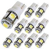 OPAP Ampoule à LED voiture 10 x T10 194 168 W5 W 5050 SMD 5 de 12 V pour signal Interior, Dome, Trunk, tableau de bord, feu de position Blanc