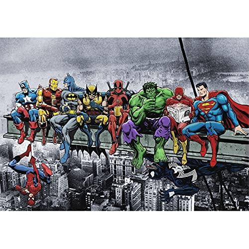 Pretty Store Puzzle - Jigsaw Spiderman Deadpool Hulk Flash Superman Venom 300/500/1000 Piezas para Adultos Manga Figura Puzzles Juguete Familia Amigos Regalo Anime Fans A (Size : 1000PC)