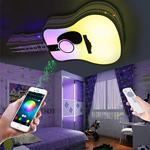 Afstandsbediening Plafond Licht, Led Eye Protection Smart Cellphone APP Bediende, Muziek Plafond Lamp met Bluetooth Speaker RGB Kleur Veranderende Lichten Dimbare Timing van Gitaar Kids Lampen