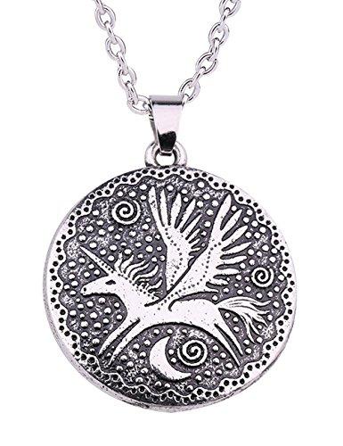 LIKGREAT Collar con colgante de unicornio volador de la mitología nórdica para niñas