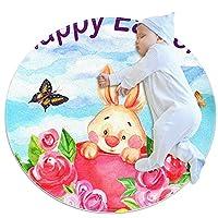 ソフトラウンドエリアラグ 100x100cm/39.4x39.4IN 滑り止めフロアサークルマット吸収性メモリースポンジスタンディングマット,イースターバニーの卵蝶の花