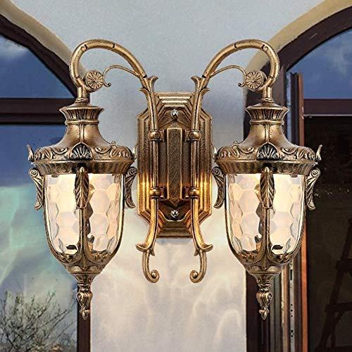 WARM ROOM Villa muur lantaarn, dubbele koppen huis hanglamp Europese retro wandlamp, vintage waterdicht tuin country buitendeur balkon