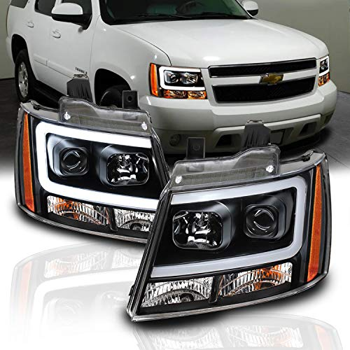 AmeriLite 2007-2013 Super Bright LED Bar Projector Black Headlights Pair for Chevy Avalanche Suburban Tahoe Left and Right