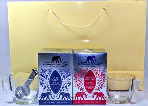 Williamson Kenya Earl Grey & English Breakfast - Juego de 100 bolsitas de té con 2 tazas de cristal y exprimidor de bolsas de té de acero inoxidable con bolsa de regalo