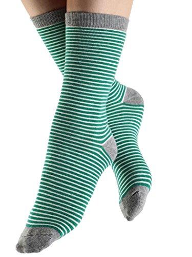 ALBERO 2 Paare Damen Herren Socken Ringelsocken Bio-Baumwolle Geringelt Gestreift (39-42, grün)