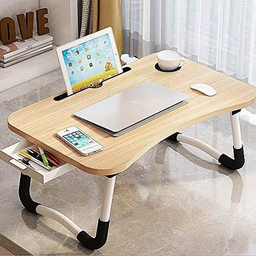 MQJ Mesa plegable, soporte plegable para ordenador portátil, mesa de estudio, escritorio plegable de madera, para cama, sofá, té, mesa, nogal