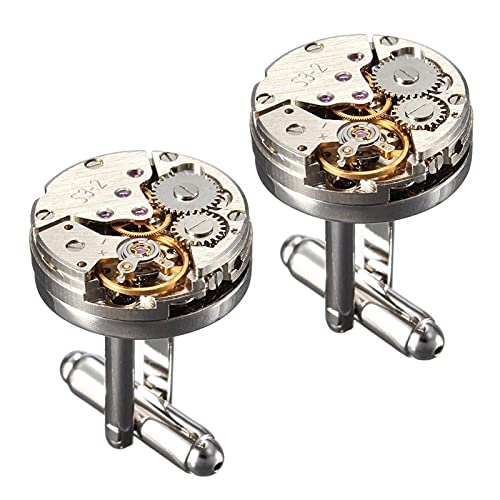 2 Unids Mujeres Hombres Mecánico Reloj Movimiento Gemelos Camisa Manga Botones Bala Aeronave Modelando Gemelos Casual (Color : 1)