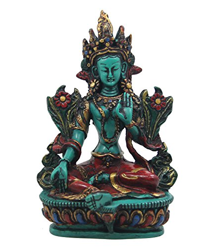 DharmaObjects Large Tibetan Buddhist Green Tara Resin Statue Mother Goddess 6