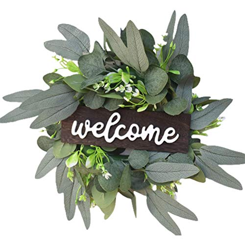 ZIXIXI Wreaths Rustic Front Door Decor Wood Hanging Sign with Artificial Welcome Wreath Leaves, Farmhouse Porch Decorations for Home Wedding Thanksgiving Christmas