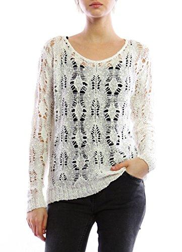 si moda gebreide trui voor dames gebreide trui losse blouse ronde hals lange mouwen Ajour gat patroon