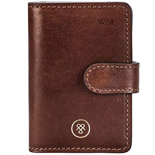 Maxwell-Scott Personalisierter Hochwertiger Leder Mini-Taschenkalender Alvito in Cognac Braun