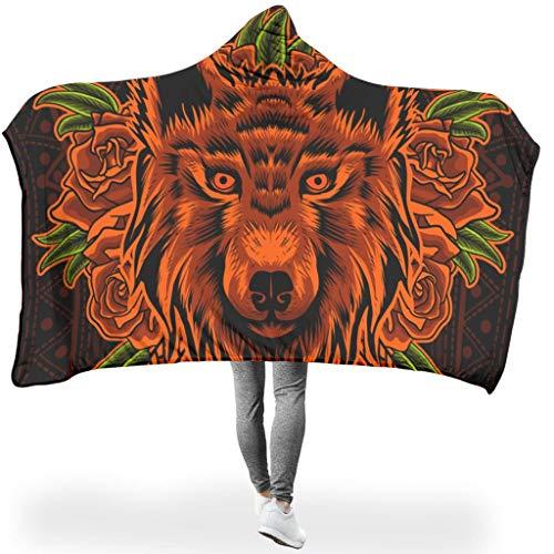 Wandlovers knuffelig met capuchon deken mandala indianen oranje wolfjes rozen dier kunstwerken druk sherpa mooi cape Throw Wrap Robe deken met capuchon bank