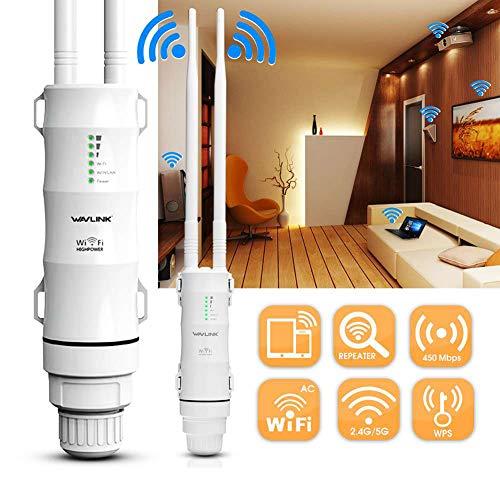 KFY AC600 27dBm WiFi Extender Outdoor 3 in 1 Ap/Router/WiFi Repeater Booster 2.4G/150Mbps + 5GHz/433Mbps Amplificador de Punto de Acceso de señal inalámbrico con WISP y Antenas de Alta Ganancia