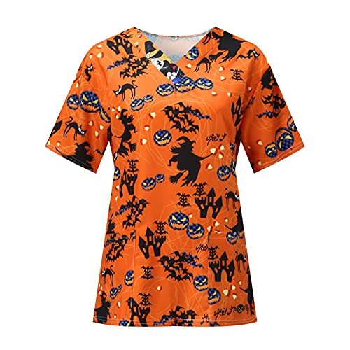 Mymyguoe Kasack Motiv Schlupfhemd mit Taschen Große Größen Berufskleidung Arbeitskleidung Tunika Frauen Pflegekasack Kasacks Damen Pflege V-Neck Kurzarm Uniformen Schlupfkasack