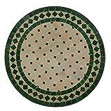 Casa Moro Mediterraner Gartentisch marokkanischer Mosaiktisch Ø 45 cm rund grün terrakotta mit Gestell H 55 cm | Kunsthandwerk aus Marrakesch | Handmade Bistrotisch Mosaik-Kunst...