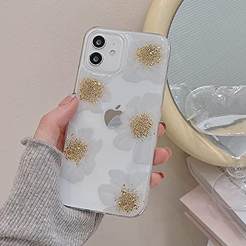 GQFGYYL iPhone 13 Pro Funda Estuche para Teléfono con Flores de Papel de Aluminio con Estilo Suave TPU Silicona Anti-Choques Anti-Arañazos Funda, para iPhone 13 Pro,001,iPhone12Pro