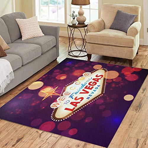 Pinbeam Area Rug Night Welcome to Las Vegas Sign Bokeh Home Decor Floor Rug 3' x 5' Carpet