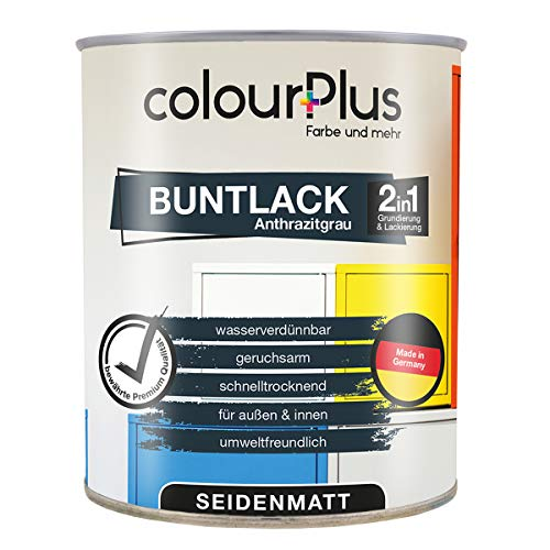 colourPlus® 2in1 Buntlack (750ml, RAL 7016 Anthrazitgrau) seidenmatter Acryllack - Lack für Kinderspielzeug -...