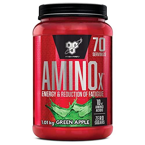 BSN Amino X BCAA Pulver, Zuckerfrei Aminosäuren Komplex Hochdosiert mit Vitamin D, Vitamin B6, Arginin, Taurin und Alanin, Green Apple, 70 Portionen, 1kg