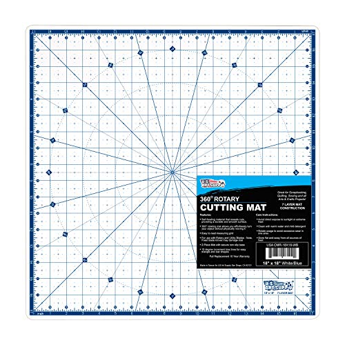 U.S. Art Supply 18  x 18  Rotary WHITE BLUE High Contrast Professional Self Healing 7-Layer Durable Non-Slip PVC Cutting Mat Great for Scrapbooking, Quilting, Sewing and all Arts & Crafts Projects