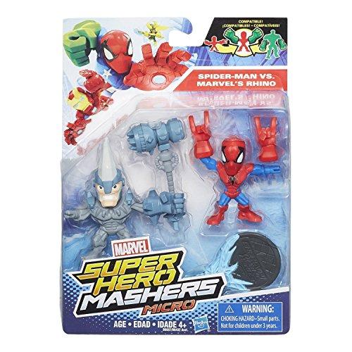 Hasbro B6687 - Marvel - Super Hero Mashers - Micro - Minifiguren 2er Pack a 5 cm - Spider-Man vs. Marvel's Rhino