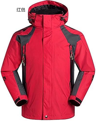 DYF Manteau hommes veste de ski bas fermeture éclair Manches Longues Chapeau chaud épaissie, rouge, XL