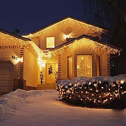 Bakaji Lighting Tenda Cascata Luminosa 510 x 90 cm Prolungabile Fino a 15 MT 189 LED con FLASH, Luci per Esterno Catena Natalizia IP44 (Bianco Caldo)