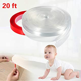 Feeke Safety Transparent Corner Guards - Soft Baby Proofing Furniture Bumper Strip - 20 Feet Furniture Guard Corner Protector with 23 Feet Double-Sided Tape for Table Edge and Sharp Corners