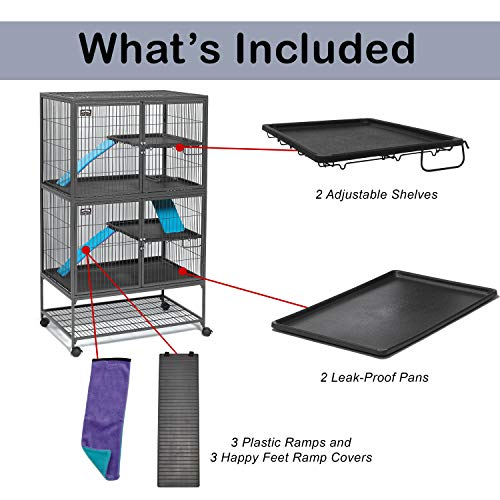 """MidWest Deluxe Ferret Nation Double Unit Ferret Cage (Model 182) Includes 2 leak-Proof Pans, 2 Shelves, 3 Ramps w/Ramp Covers & 4 locking Wheel Casters, Measures 36"""" L x 25"""" W x 62.5"""" H Inches"""